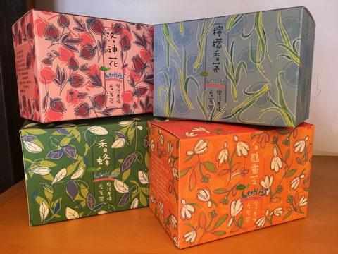 協會的四種香草茶:洛神花茶、檸檬香茅茶、香蜂草茶、白鶴靈芝茶